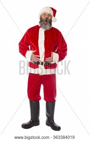 A Happy Santa On White With A Ho Ho Ho.