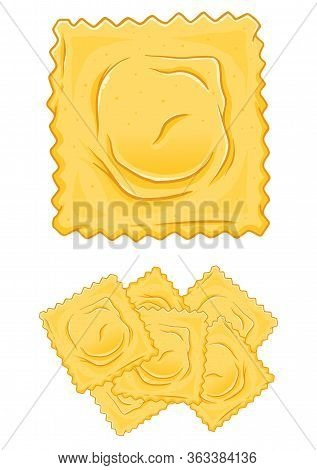 Delicious Italian Ravioli Pasta Hand Drawn Vector Illustration, Isolated On White Background