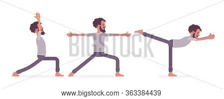 Young Man In Yogi Sports Wear Practicing Yoga, Doing Standing Poses, Warrior One, Two, Three Variati