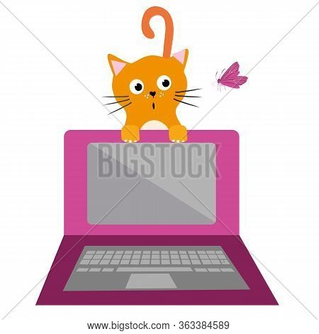 Cute Cartoon Cat And Laptop Vector Illustration. Surprised Ginger Pet Kitty Is Distracted By Butterf
