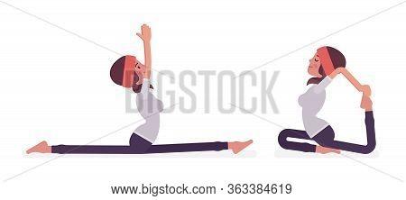 Woman In Yogi Sport Wear Practicing Yoga, Monkey God, Splits, Hanumanasana Pose And One Legged King