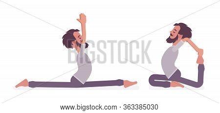 Man In Yogi Sport Wear Practicing Yoga, Monkey God, Splits, Hanumanasana Pose And One Legged King Pi