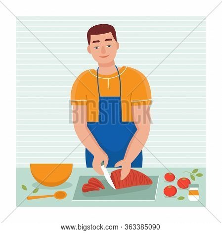 A Young Man Cooks At Home In The Kitchen. Husbands Household Duties. Flat Vector Cartoon Illustratio