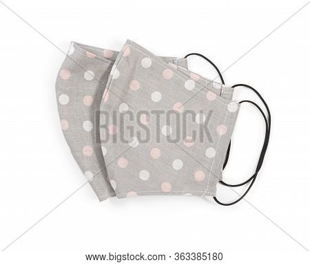 Handmade Fabric Reusable Protective Medical Mask Isolated On White Background.