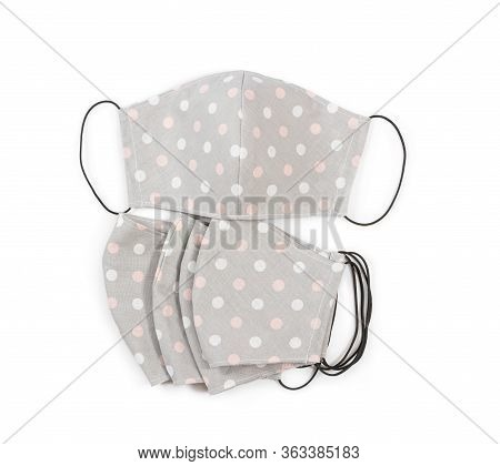 Handmade Fabric Reusable Protective Medical Masks Isolated On White Background.