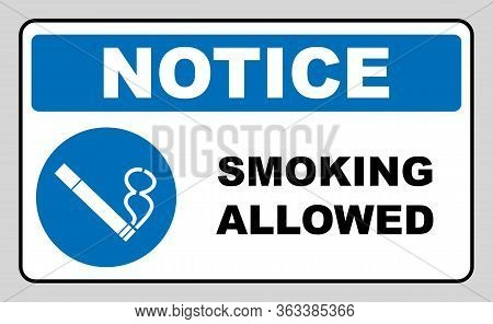 Smoking Allowed Icon. Round Blue Sign With White Pictogram And Black Text. Vector Illustration Isola