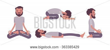 Man In Yogi Wear Practicing Yoga In Restorative, Seated Poses, Padmasana, Lotus Variation, Child, Ba