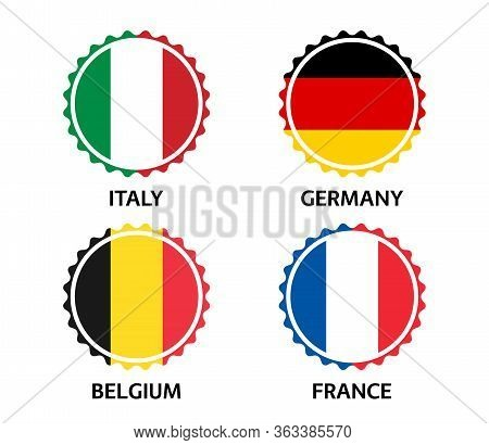 Set Of Four Italian, German, Belgian And French Stickers. Made In Italy, Made In France, Made In Ger