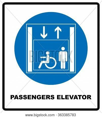 Passengers Elevator Sign. Lift Vector Icon. Vector Illustration Isolated On White Background. Blue M