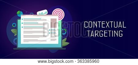 Contextual Targeting, Ppc Online Advertising Concept. Marketing Context Campaign With Laptop Ads And