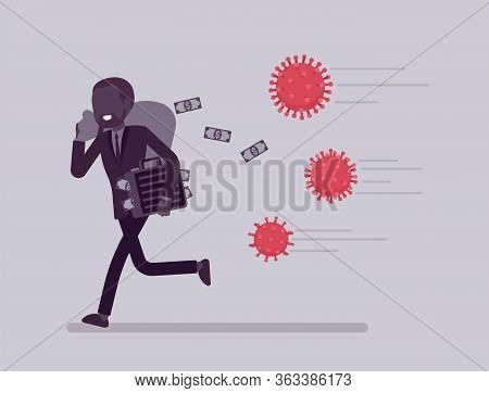 Saving Money From Virus Attack. Man Running Away To Escape Economic Shock, Business Bankruptcy, Fina