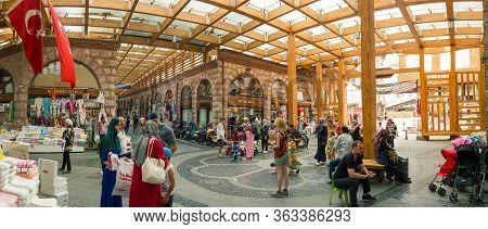 Bursa, Turkey - August 14, 2019: People Visiting The Famous Tarihi Ulu Carsi (historical Grand Bazaa