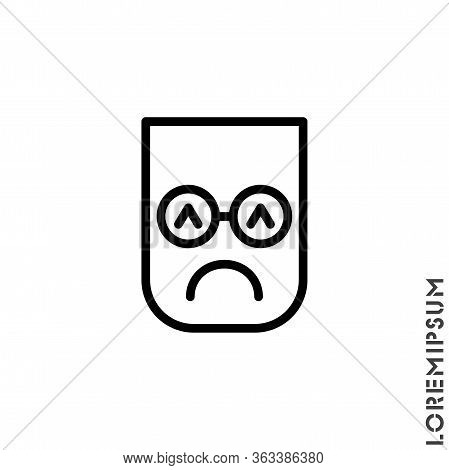 Depressed, Sad, Stressed Emoji Icon Vector, Emotion, Sad Symbol. Modern Flat Symbol Web And Mobil Ap