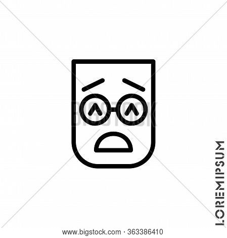 Sad Give Up Tired Emoticon Icon Vector Illustration. Outline Style. Very Sad Cry Stressful Emoticon
