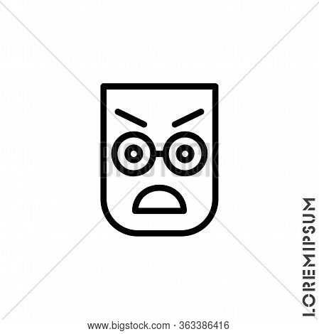 Fury Expression Icon With Outline Style. Suitable For Website Design, Logo, App And Ui. Angry Icon V