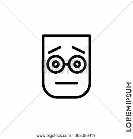 Cute Emoticon Sticker, Vector Illustration. Embarrassed Shy Blushing Face Emoticon Icon Vector Illus