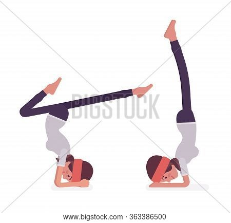 Woman In Yogi Sport Wear Practicing Yoga, Headstand, Variation Of Salamba Sirsasana Pose And Handsta
