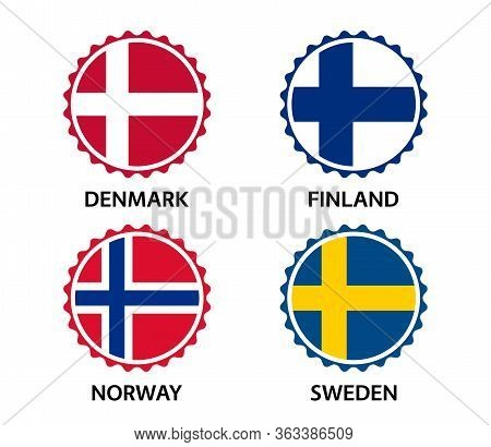 Set Of Four Danish, Finnish, Norwegian And Swedish Stickers. Made In Denmark, Made In Finland, Made