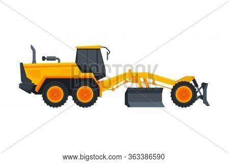 Bulldozer Heavy Grader Construction Machine, Special Transport, Side View Flat Vector Illustration