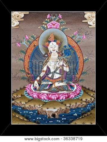 ancient tibetan tangka White Tara