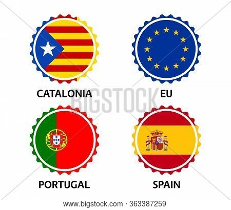 Set Of Four Catalonia, European Union, Portuguese And Spanish Stickers. Made In Catalonia, Made In E