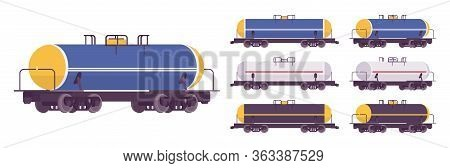 Tank Car Wagon For Railway Transportation. Liquid, Oil, Gaseous Commodities Commercial Delivery, Tan