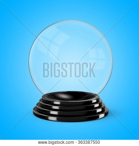 Glass Crystal Ball Mounted On A Black Painted Wooden Base. 3d Illustration