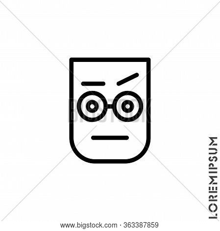 Confused Thinking Emoticon Icon Vector Illustration. Outline Style.
