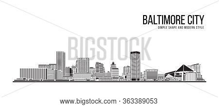 Cityscape Building Abstract Simple Shape And Modern Style Art Vector Design -  Baltimore City