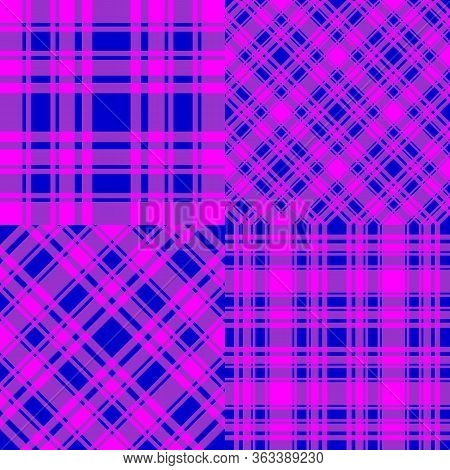 Set Checkered Seamless Patterns. Blue And Fuchsia Trend Color Cell Background. Vector Stock Abstract
