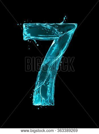 Number 7 Made Of Turquoise Splashes Of Water On Black Background. 3d Illustration