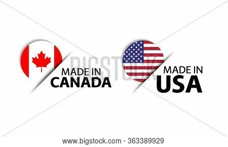 Set Of Two Canadian And United States Of America Stickers. Made In Canada And Made In Usa. Simple Ic