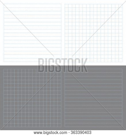 Set Small Memo Paper Vector Illustration. Dot Line Notice Notes Background. Blue Horizontal And Squa
