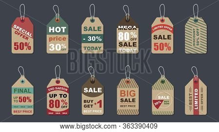 Special Offer Vintage Badges Set. Hot Price, Buy Now Various Retro Hang Tags. Weekend Shopping, Comm