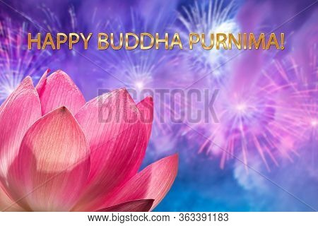 The Concept Of Purnima Buddha Day: A Silhouette Of A Pink Lotus Flower Against The Background Of A F