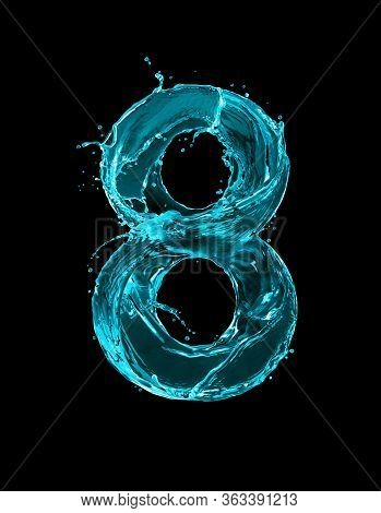 Number 8 Made Of Turquoise Splashes Of Water On Black Background. 3d Illustration
