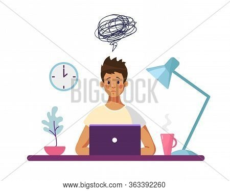 The Guy Sits At A Desk With A Computer And Thinks About The Difficulties Encountered. Concept Illust