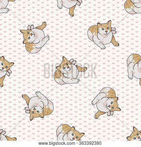 Cute Cartoon Tabby Cat Seamless Vector Pattern. Pedigree Kitty Breed Domestic Kitty Background. Cat