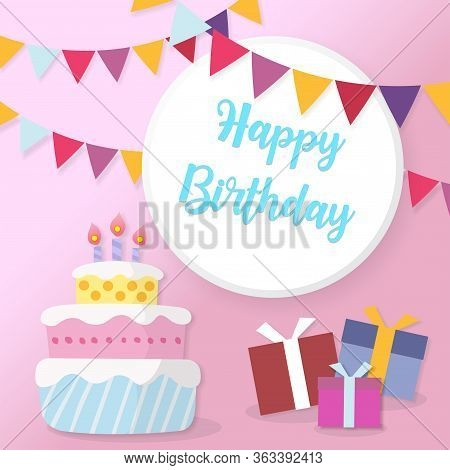 Happy Birthday Greeting Card. Birthday Card In Paper Cut Style Vector Illustration. Birthday Cake. C