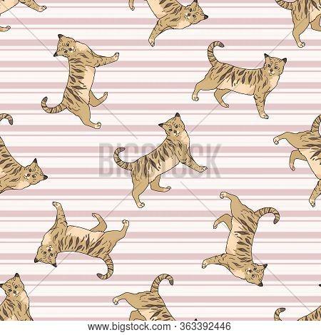 Cute Cartoon Bengal Cat Seamless Vector Pattern. Pedigree Kitty Breed Domestic Kitty Background. Cat