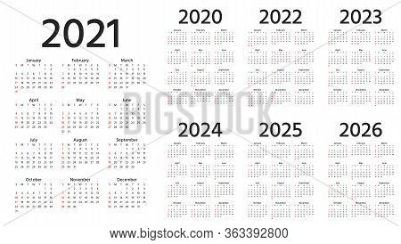 Calendar 2021, 2022, 2023, 2024, 2025, 2026, 2020 Years. Week Starts Sunday. Simple Year Template Of