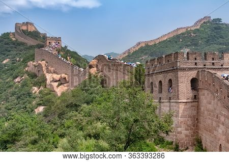 Badaling, China - August 9, 2011: View Of The Great Wall Crowded For Chinese Summer Holidays. The Gr