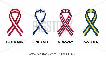 Set Of Four Danish, Finnish, Norwegian And Swedish Stripe Ribbons. Pray For Denmark, Finland, Norway