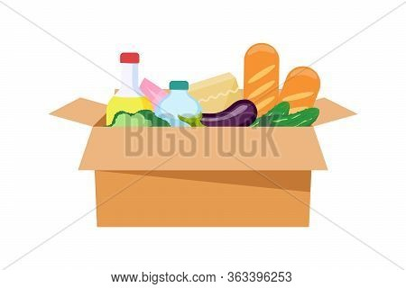 Food Box Isolated On A White Background. Food Delivery. Food Donation