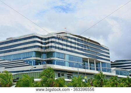 Pasay, Ph - July 15 - Conrad Hotel Facade On July 15, 2018 In Pasay, Philippines. Conrad Brand Name