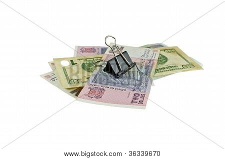 banknote under paper clip