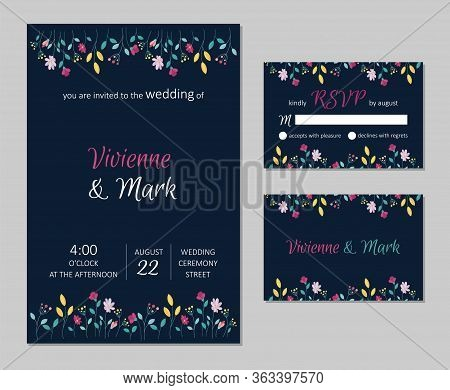 Vector Wedding Floral Invitation. Rsvp Card Design Set. Invitation Card With Floral Pattern.