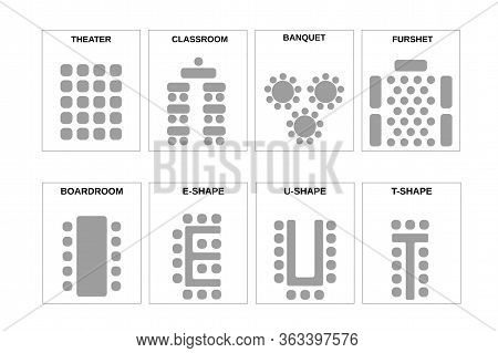A Set Of Schemes For Arranging Seats. The Chairs And The Tables In Meeting Rooms, Conference Halls A