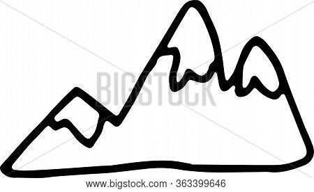 Hand Drawn Doodle Mountains With Icy Peaks. Simple Element With Thick Black Stroke.