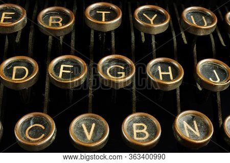 Close Up Of Retro Vintage Typewriter Keys. Content Creating And Blogging Concept.
